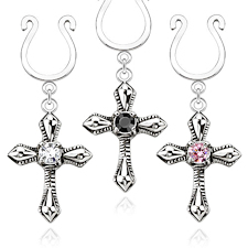 Cross Dangle  Non Piercing Nipple Ring Set